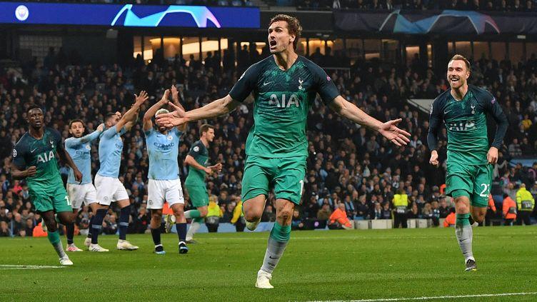 Match entre Manchester City et Tottenham, le 17 avril 2019. (ANTHONY DEVLIN / AFP)