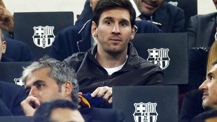 Lionel Messi dans les travées du Camp Nou. (JOAN VALLS / NURPHOTO)