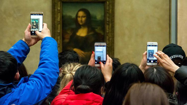 La Joconde peinte par Leonard de Vinci au XVIe siècle, reçoit chaque jour au Louvre à paris les hommage de plus de 15 000 admirateurs. (BRUNO LEVESQUE / MAXPPP)