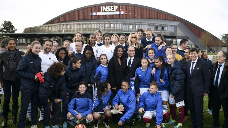 François Hollande en visite à l'Insep à trois mois de l'Euro (STEPHANE DE SAKUTIN / POOL)