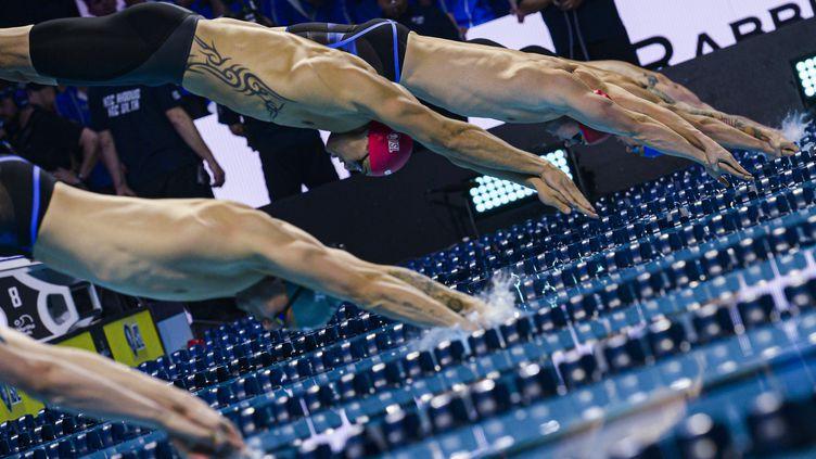 Florent Manaudou lors de la dernière étape de la compétition de la Ligue internationale de natation 2019 au Mandalay Bay Events Center, samedi 21 décembre 2019, à Las Vegas. (GIAN MATTIA D'ALBERTO / AP / SIPA)