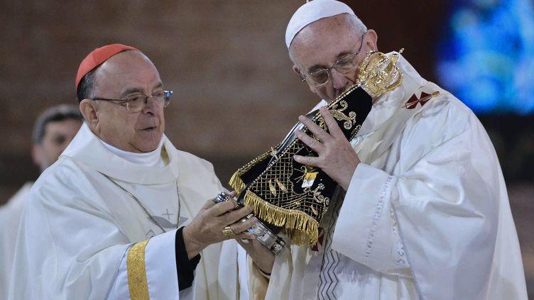 Le pape François, lors de la messe célébrée en la basilique d'Aparecida (Brésil), mercredi 24 juillet, en marge des Journées mondiales de la jeunesse de Rio. (ADRIANO LIMA / BRAZIL PHOTO PRESS)