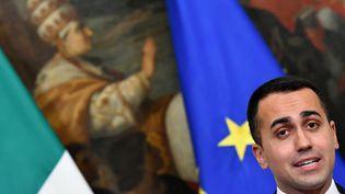 Le ministre italien du Travail et de l'Industrie, Luigi Di Maio, lors d'une conférence de presse au palais Chigi, à Rome, le 17 janvier 2019. (ALBERTO PIZZOLI / AFP)