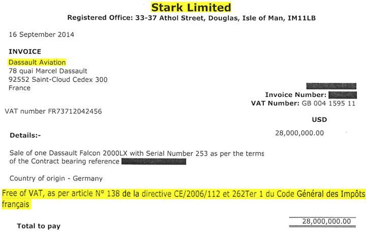 Facture Stark Limited du Falcon 2000LX acheté par Oleg Tinkov qui présente l'exonération de TVA. (DR)
