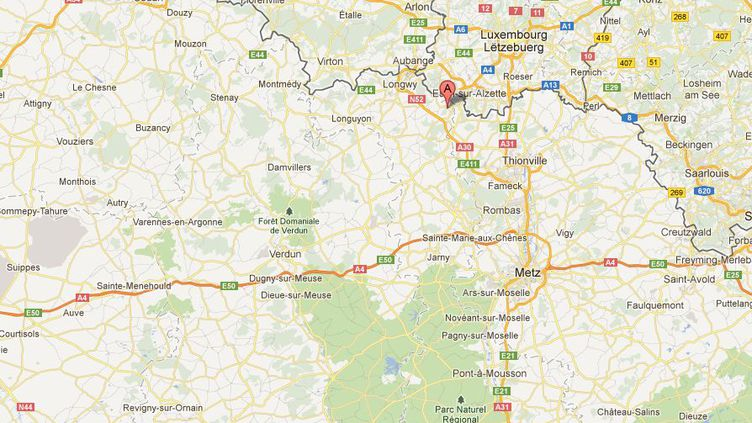 Capture d'écran Google Maps. La ville de Thil (Meurthe-et-Moselle) est signalée par un A rouge. (FTVI)