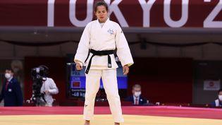 Sandrine Martinet s'est montrée déçue après sa finale de para-judo perdue en catégorie de moins de 42 kg aux Jeux de Tokyo, le 27 août 2021 (G Picout)