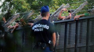 Un policier hongrois garde la frontière entre la Hongrie et la Serbie le 15 septembre 2015 àRöszke (Hongrie). (ATTILA KISBENEDEK / AFP)