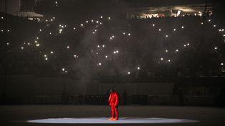 """Kanye West sur scène lors de la session d'écoute de nouvel album """"Donda"""", dans un stade d'Atlanta, jeudi 22 juillet. (KEVIN MAZUR / GETTY IMAGES NORTH AMERICA)"""