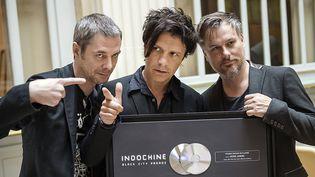 Boris Jardel, Nicola Sirkis et Oli de Sat.Indochine a annoncé la création de son propre label le 19 septembre 2014  (LIONEL BONAVENTURE / AFP )