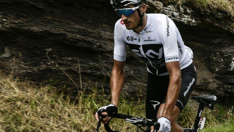 Le coureur italien de l'équipe Sky, Gianni Moscon, pendant la 15e étape du Tour de France, le 22 juillet 2018, entre Millau et Carcassonne. (PHILIPPE LOPEZ / AFP)