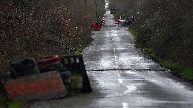 Des barricades dressées le 16 janvier sur une route départementale menant à la ZAD de Notre-Dame-des-Landes. (LOIC VENANCE / AFP)