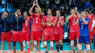 Les Français après leur victoire contre l'Allemagne (3-1), lundi 6 septembre. (RAIGO PAJULA / AFP)