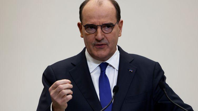 Le Premier ministre, Jean Castex, lors d'une conférence de presse sur l'épidémie de Covid-19, le 14 janvier 2021 à Paris. (THOMAS COEX / POOL / AFP)