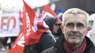 Yves Veyrier, le secrétaire général de Force ouvrière, le 7 février 2019 à Paris. (ALAIN JOCARD / AFP)