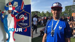 """Pendant trois mois, Dominik a confectionné sa tenue pour assister aux rencontres de l'Euro. Nous l'avons rencontré sur la """"fan zone"""" de Paris, jeudi 9 juin, à la veille de la rencontre contre la Roumanie. (FABIEN MAGNENOU / FRANCETV INFO)"""