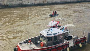Des pompiers effectuent des recherches dans la Seine, près du pont Saint-Michel, le 5 janvier 2018, afin de retrouver une policière de la brigade fluviale portée disparue. (LUC HAEDRICH / FRANCE 3)