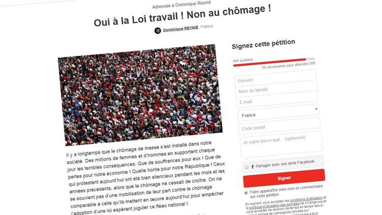 La contre-pétition en faveur du projet de loi El Khomry, lancée vendredi 26 février 2016 par le conseiller régional LR de Midi-Pyrénées-Languedoc-Roussillon Dominique Reynié. (CHANGE.ORG)