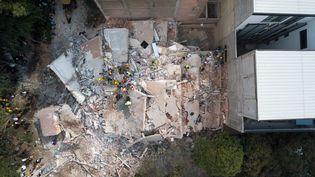 Des bâtiments se sont totalement écroulés lors du séisme, mardi 19 septembre à Mexico. (SOCIAL MEDIA / REUTERS)