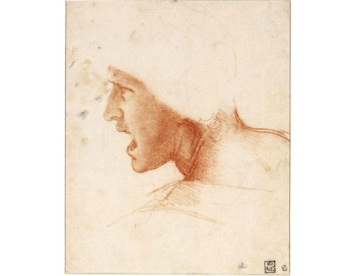 """Léonard de Vinci, """"Étude de figure pour la Bataille d'Anghiari"""", vers 1504. SBudapest, Szépművészeti Múzeum (© Szépművészeti Múzeum - Museum of Fine Arts Budapest, 2019)"""