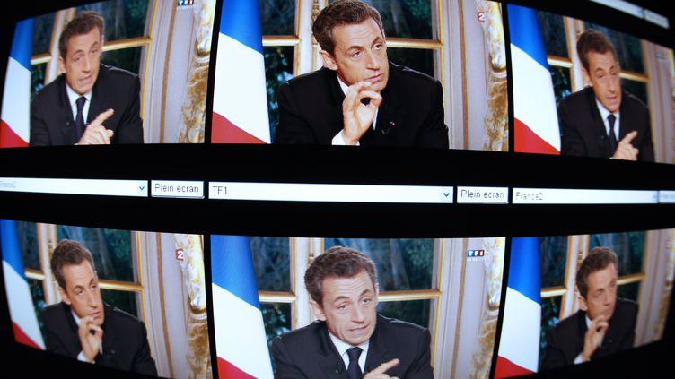 Nicolas Sarkozy lors de sa dernière grande interview télévisée, le 27 octobre 2011. (THOMAS COEX /AFP PHOTO)
