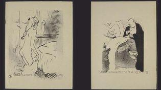 """Deux dessins de Toulouse-Lautrec dévoilés par l'Allemagne : """"Etude de Femme"""" et """"Carnot Malade !"""" (les deux datés 1893)  (Staatsanwaltschaft Augsburg)"""