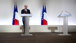 Le Premier ministre Jean Castex, lors de son allocution le 18 mars 2021. (MARTIN BUREAU / POOL / AFP)