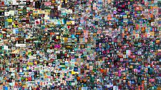 """L'oeuvre """"Everydays : The First 5,000 days"""" de l'artiste Beeple vendue à69,3 millions de dollars le 11 mars 2021 chez Christie's (détail). (HANDOUT / CHRISTIE'S AUCTION HOUSE / AFP)"""
