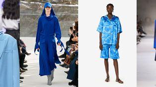 Vente aux enchères de pièces collectors de couleur bleu de créateurs de mode : Victoria Tomas, Kenzo, Schiaparelli et Dries van Noten. Avril 2020 (La mode s'engage)