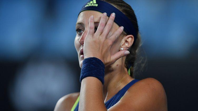 Kristina Mladenovic catastrophée (SAEED KHAN / AFP)