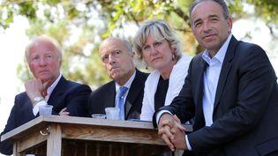 Brice Hortefeux, Alain Juppé, Nadine Morano et Jean-François Copé, le 2 septembre 2013 à Arcachon (Gironde). (ROMAIN PERROCHEAU / AFP)