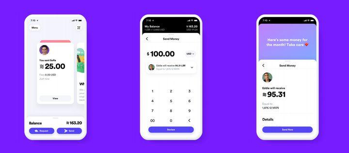 Captures d'écran du prototype de l'application Calibra, proposée par Facebook pour envoyer ou recevoir la cryptomonnaie Libra. (CALIBRA / FACEBOOK)