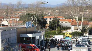 La prise d'otagesdans un supermarché Super U deTrèbes (Aude) vendredi 23 mars par Radouane Lakdim. (MAXPPP)