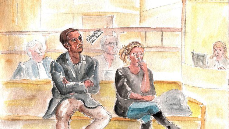 Les deux prévenus, Sébastien Gaillemin et Stéphanie Klein, jugés pour non-assistance à personne en danger au tribunal correctionnel de Rennes (Ille-et-Vilaine), le 18 mars 2015. (ELISABETH DE POURQUERY / FRANCETV INFO)