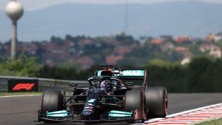 Lewis Hamilton, au volant de la Mercedes, sur le circuit du Grand Prix de Hongrie, le 31 juillet 2021. (FERENC ISZA / AFP)