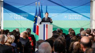 """Emmanuel Macronprésente saProgrammation pluriannuelle de l'énergie dans un contexte de crise avec les """"gilets jaunes"""", le 27 novembre 2018, à l'Elysée. (MAXPPP)"""