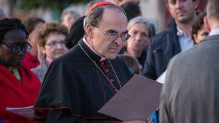 Le cardinal Philippe Barbarin lors des célébrations du vendredi saint, le 14 avril 2017 à Lyon (Rhône). (FRANCK CHAPOLARD / AFP)