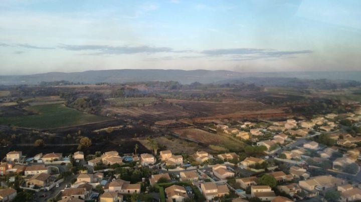 Les hauteurs de Loupian (Hérault), après l'incendie qui a brûlé 300 hectares, le 8 septembre 2019. (SDIS 34)
