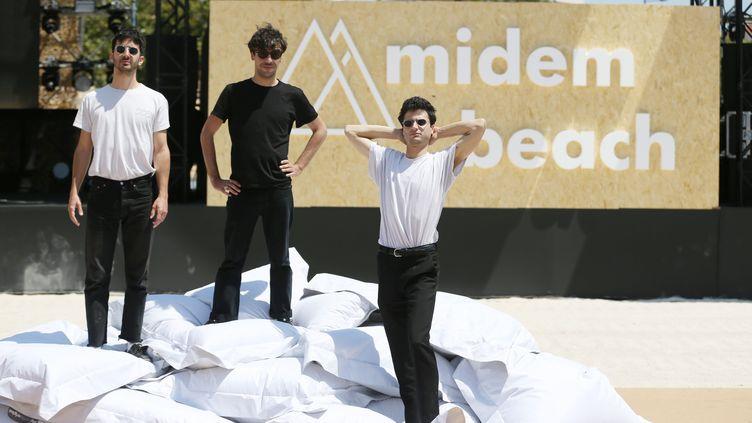 BB Brunes invités du Midem 2019 le temps de l'enregistrement d'un titre de leur nouvel album. (SEBASTIEN BOTELLA / MAXPPP)