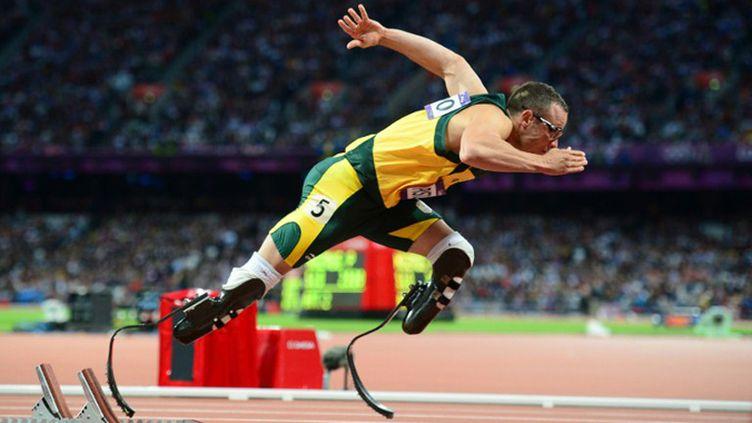 Oscar Pistorius lors des Jeux Olympiques de Londres (OLIVIER MORIN / AFP)