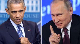 Photomontage de Barack Obama, à Washington (Etats-Unis), le 16 décembre 2016, et de Vladimir Poutine, à Moscou (Russie), le 23 décembre 2016. (SAUL LOEB / AFP)