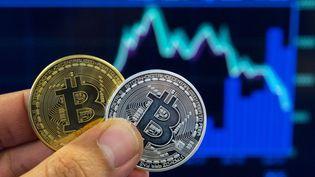 Après avoir frôlé les 17 000 euros peu avant Noël, le cours du bitcoin s'établit mercredi 14 février 2018 à environ 7 500 euros l'unité. (JACK GUEZ / AFP)