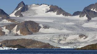 Le glacier d'Apusiajk, au Groenland, le 6 juillet 2020. (PHILIPPE ROY / AFP)