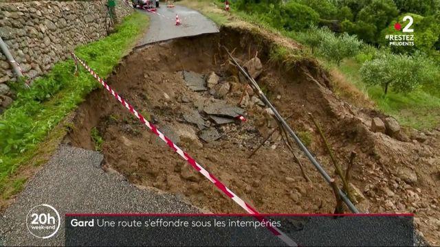 Gard : une route s'effondre sous les intempéries