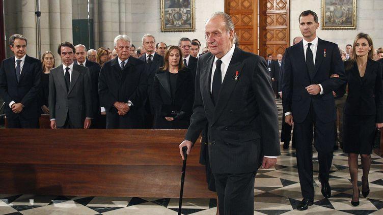Juan Carlos, le roi d'Espagne, assiste aux obsèques de l'ancien Premier ministre espagnol, Adolfo Suarez à Madrid (Espagne), le 31 mars 2014. (REUTERS)
