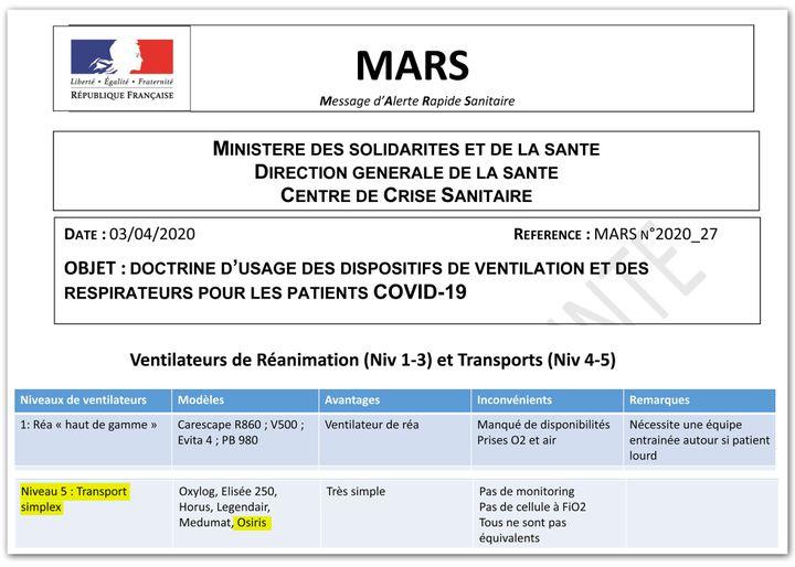 Note du 3 mars 2020 du ministère de la Santé relative à l'usage des respirateurs. (CAPTURE ECRAN / MINISTERE DE LA SANTE)