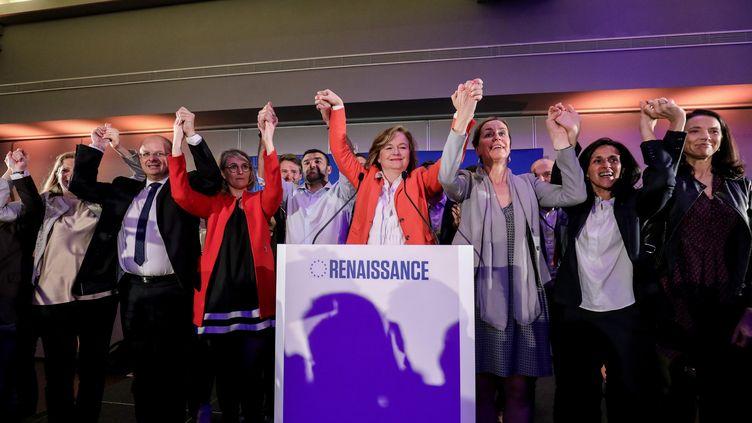 Nathalie Loiseau célèbre les résultats de la liste LREM aux élections européennes, le 26 mai 2019 à Paris. (LUDOVIC MARIN / AFP)