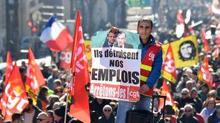 """Manifestation à Marseille à l'appel de la CGT dans le cadre d'une """"grève générale de 24 heures"""". (GERARD JULIEN / AFP)"""