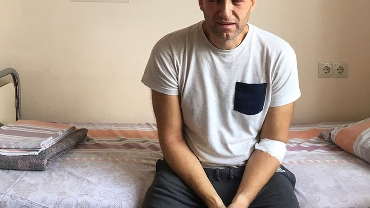 Alexeï Navalny à l'hôpital de Moscou (Russie), le 29 juillet 2019. (HANDOUT / NAVALNY.COM / AFP)