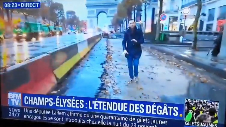 Capture d'écran d'un reportage sur les Champs-Elysées diffusé dimanche 25 novembre 2018 sur BFMTV. (BFMTV)