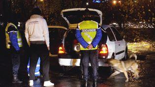 Un contrôle de gendarmerie, le 27 décembre 2014, au péage de Palays au sud de Toulouse (Haute-Garonne). (MAXPPP)